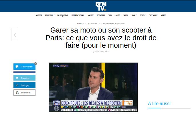 Garer sa moto ou son scooter à Paris: ce que vous avez le droit de faire (via auto.bfmtv.com)