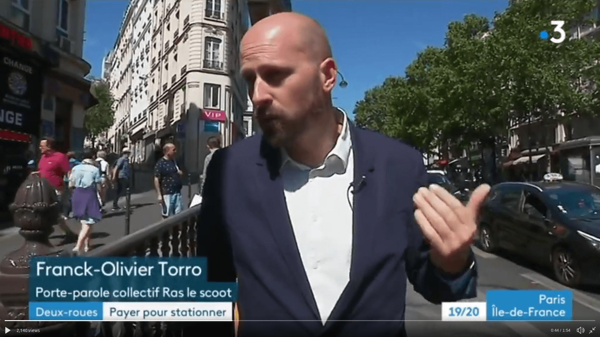 Notre porte-parole interviewé sur @France3Paris à propos du stationnement 2RM payant