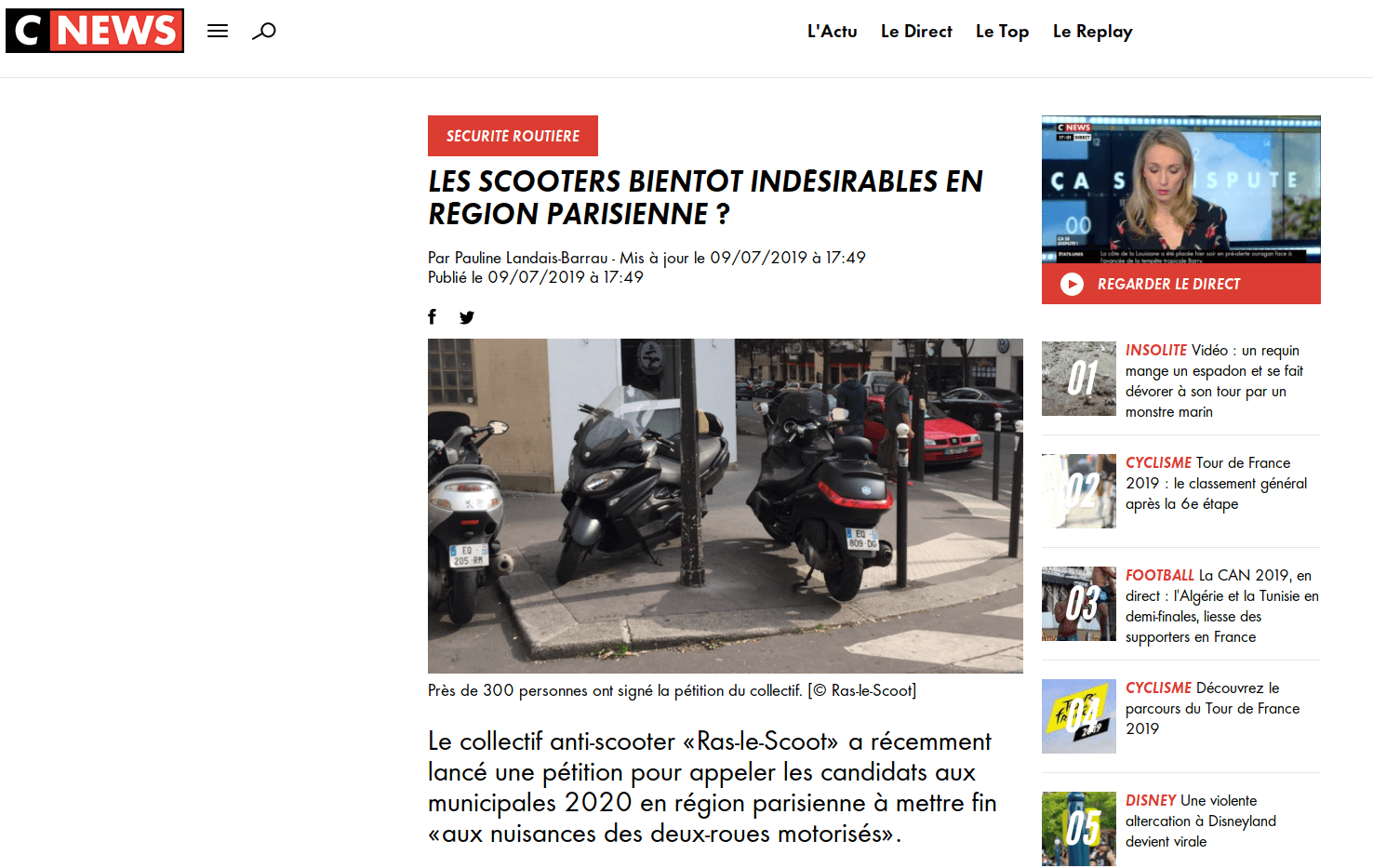 Les scooters bientôt indésirables en région parisienne ? (via @CNEWS)