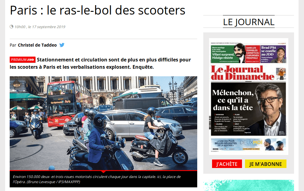 Paris : le ras-le-bol des scooters (via @LeJDD)
