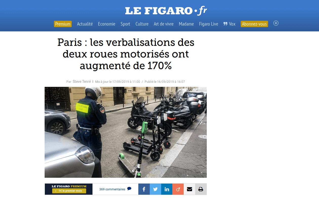 Paris : les verbalisations des deux roues motorisés ont augmenté de 170% (via @Le_Figaro)