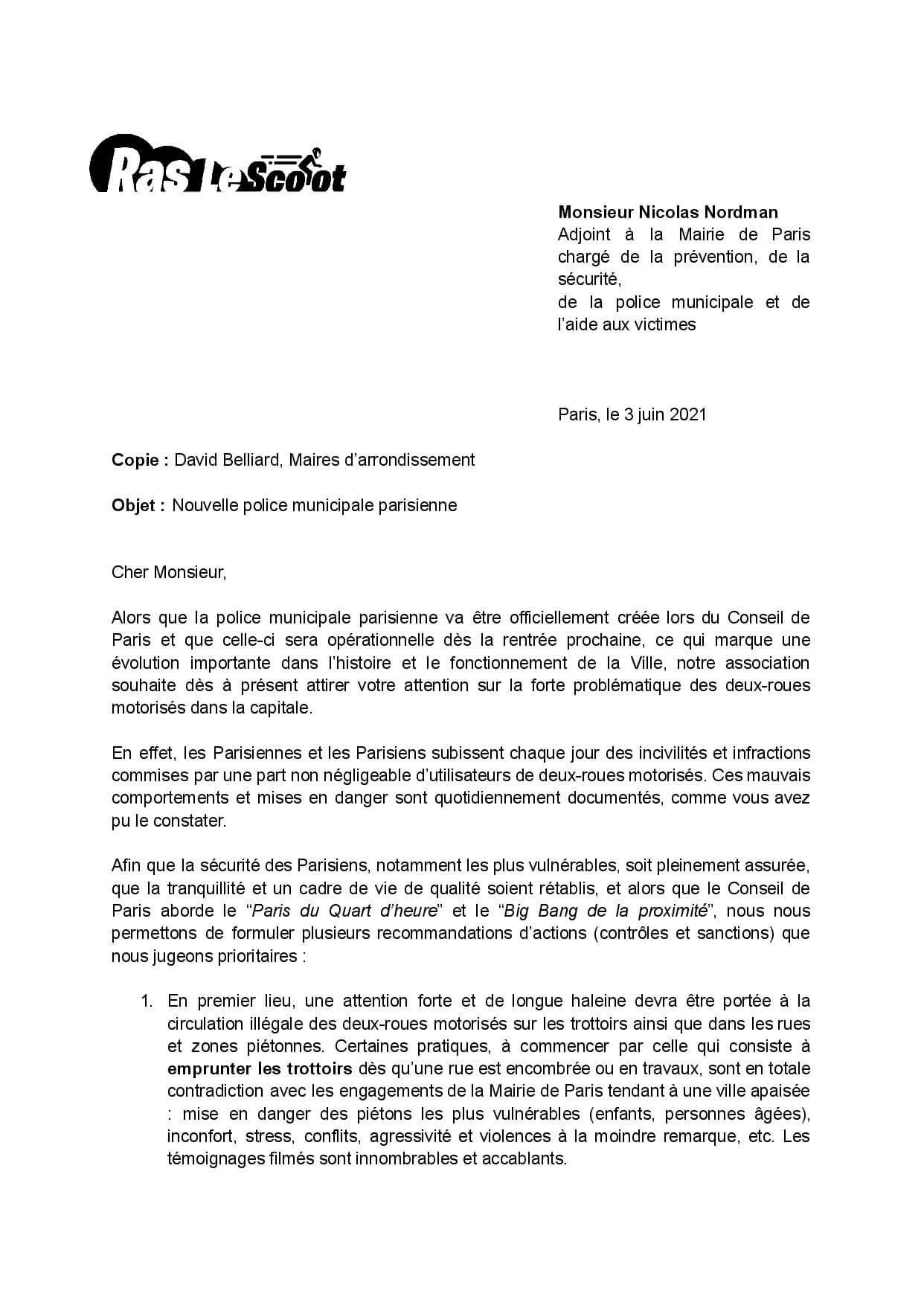 Police municipale :  Ras le Scoot écrit à Nicolas Nordman, Paris